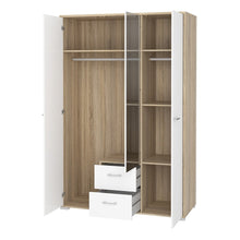 Load image into Gallery viewer, Homeline Wardrobe - 3 Doors 2 Drawers in Oak with White High Gloss