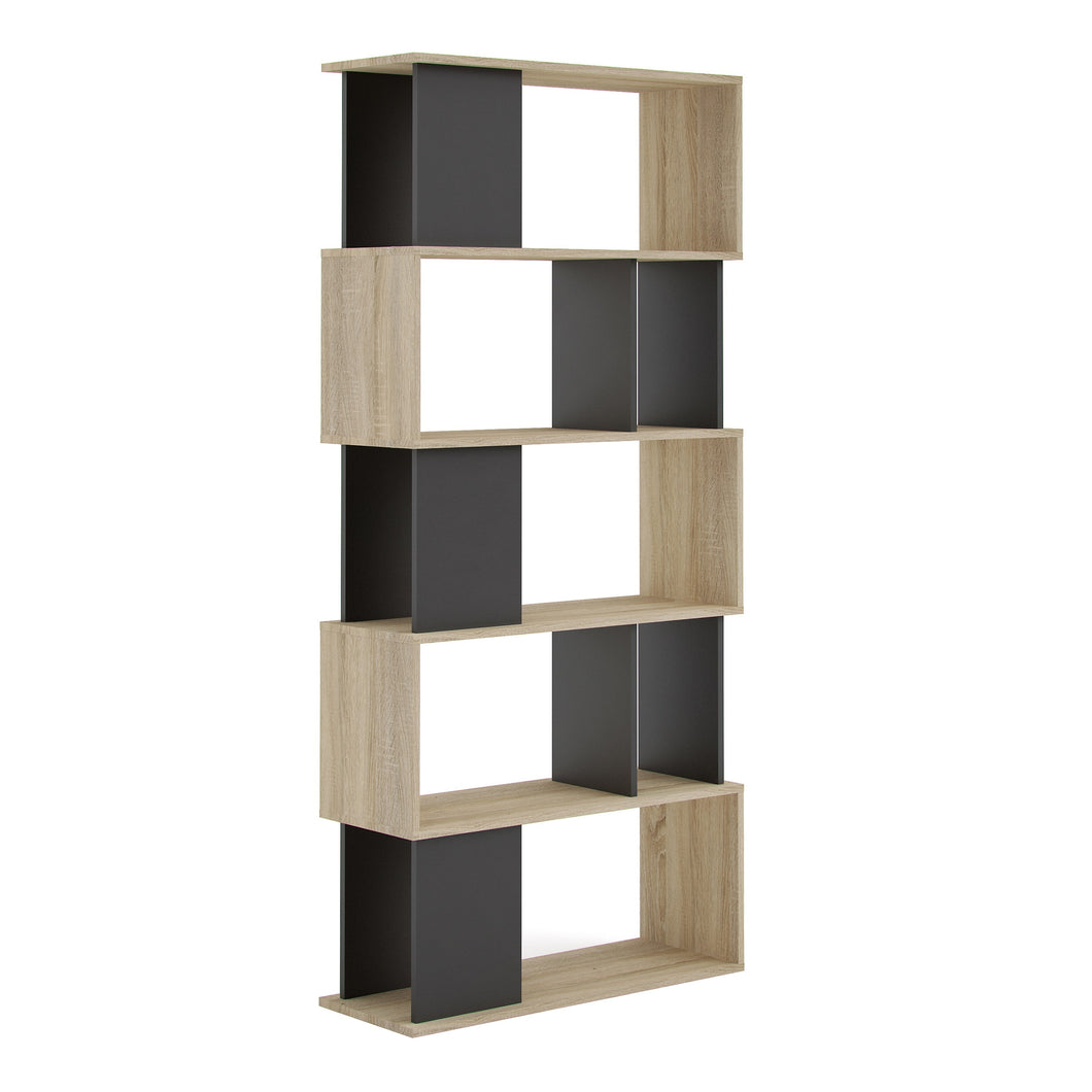 Maze Open Bookcase 4 Shelves in Oak and Black