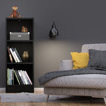 Load image into Gallery viewer, Basic Low Narrow Bookcase (2 Shelves) in Black Woodgrain