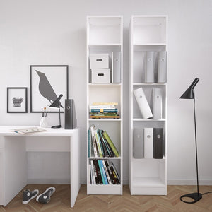 Basic Tall Narrow Bookcase (4 Shelves) in White