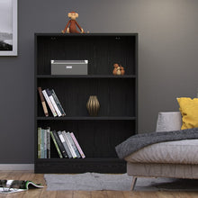 Load image into Gallery viewer, Basic Low Wide Bookcase (2 Shelves) in Black Woodgrain