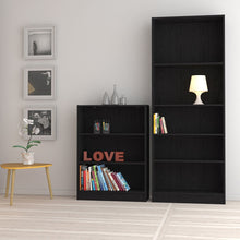 Load image into Gallery viewer, Basic Tall Wide Bookcase (4 Shelves) in Black Woodgrain