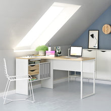 Load image into Gallery viewer, Function Plus Corner Desk 2 Drawers in White and Oak