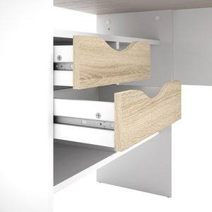 Function Plus Corner Desk 2 Drawers in White and Oak