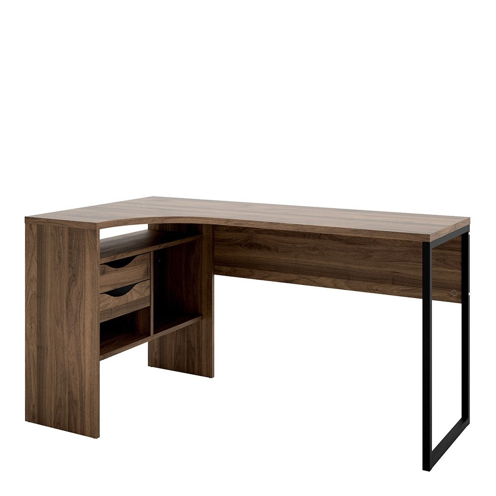 Function Plus Corner Desk 2 Drawers in Walnut