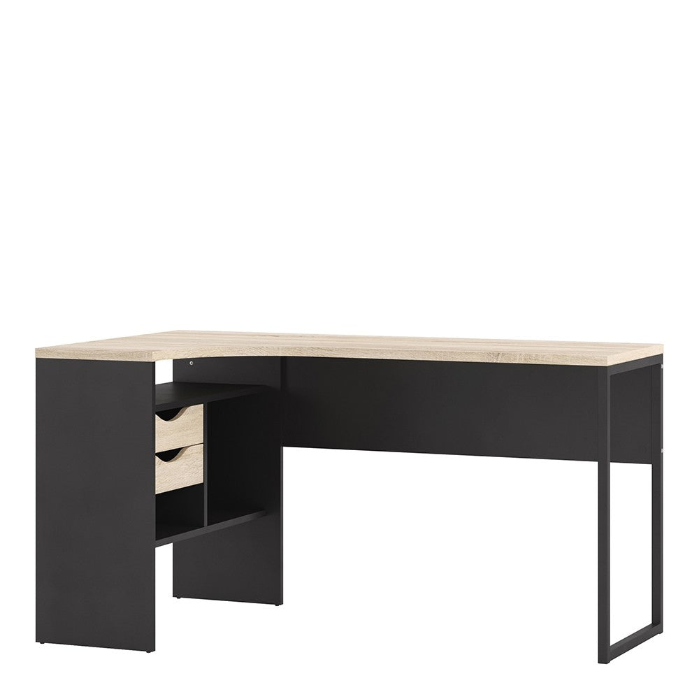 Function Plus Corner Desk 2 Drawers in Black Matt and Oak