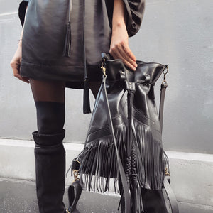 BLACK FRINGE BACKPACK/TOTEBAG