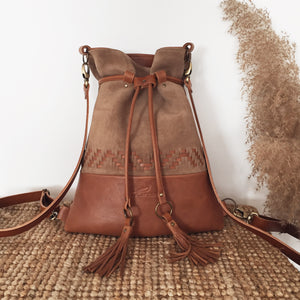 BROWN WOVEN BACKPACK/TOTEBAG