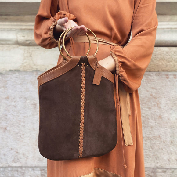 BROWN BRAIDED BORDURE O-RING BAG