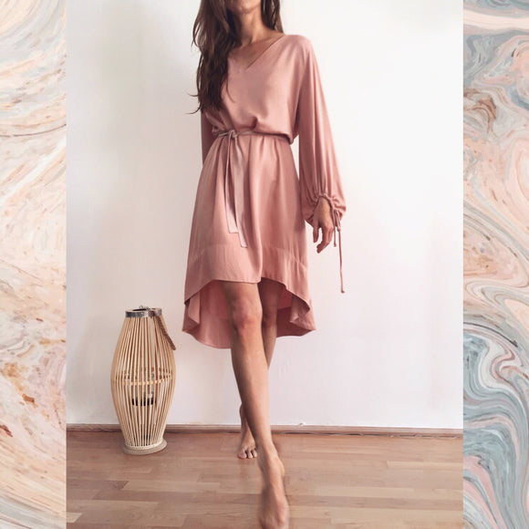 SHORT ZOE DRESS - MISTY ROSE