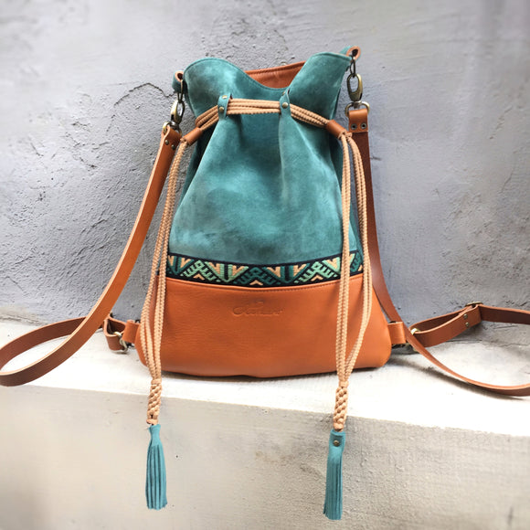 TURQUOIZE BACKPACK/TOTEBAG
