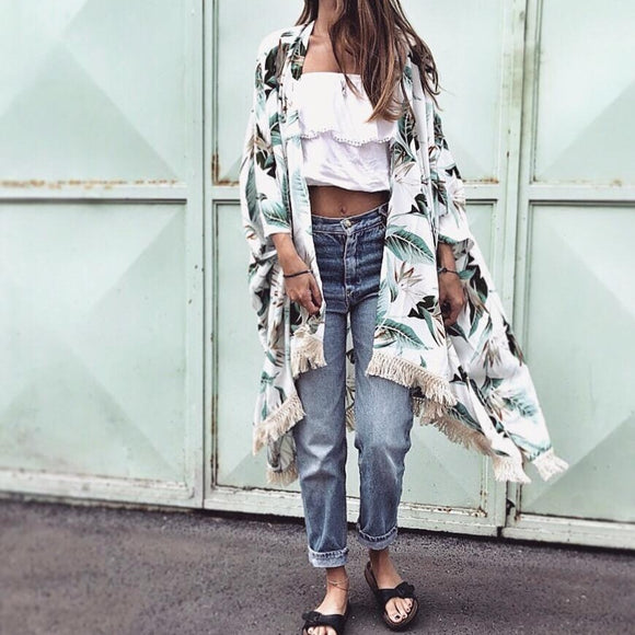 WHITE TROPICAL PONCHO
