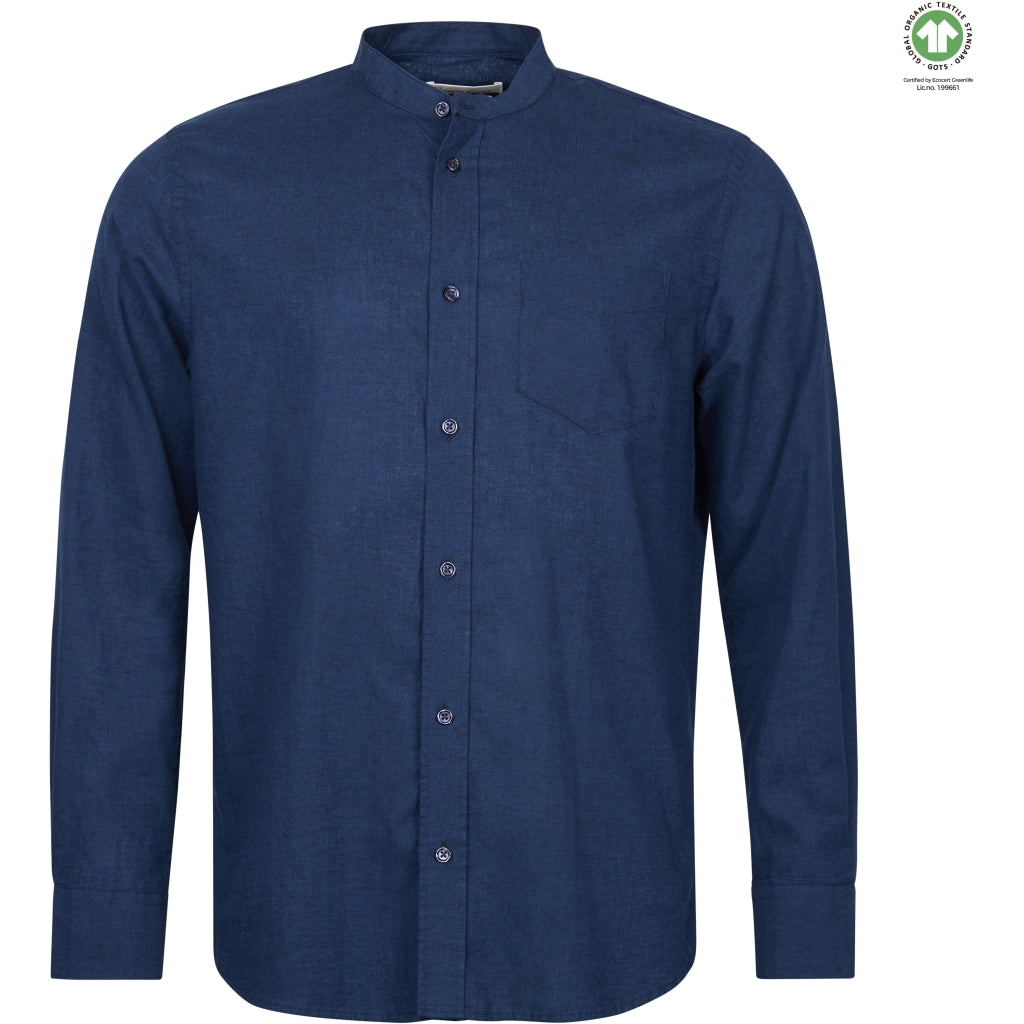 By Garment Makers The Organic Linen Shirt - Bruce Mandarin Shirt LS 3096 Navy Blazer