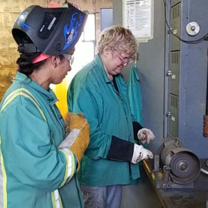 Instructor Tessa Troutman and Welding Student