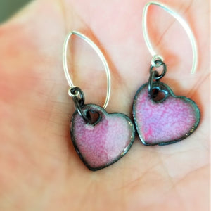 Lavender Enamel Heart Earrings - Jackie Baker