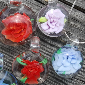 Implosion Flower Pendant in Soft Glass