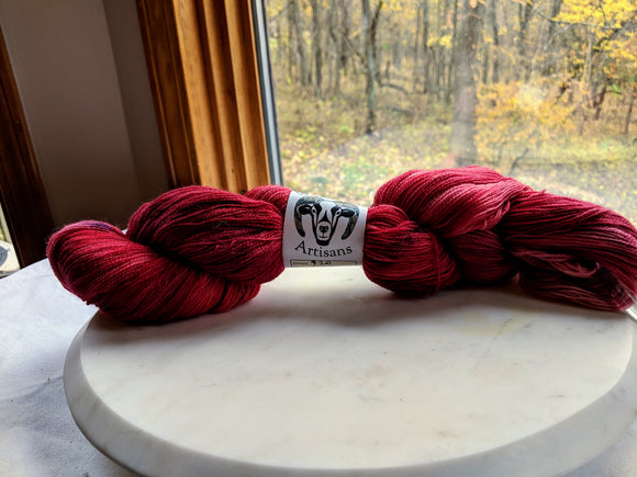 100% Superwash Merino 'Cranberry' 100g Laceweight Yarn