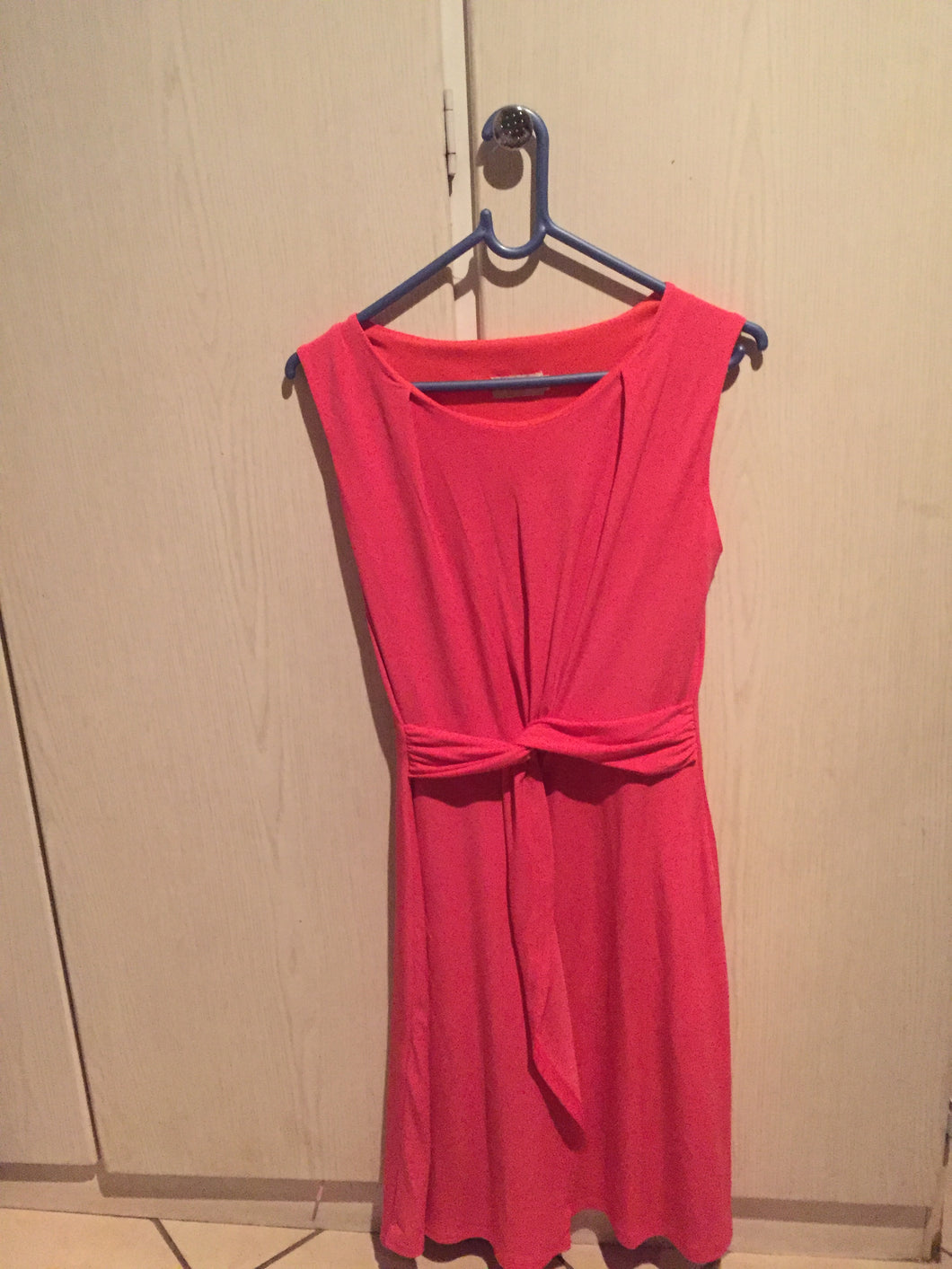 Coral ladies dress with wrap detail-dresses-Elinye_ithuba