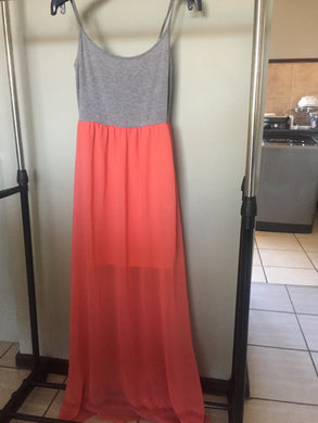 Coral and Grey ladies maxi dress-dresses-Elinye_ithuba
