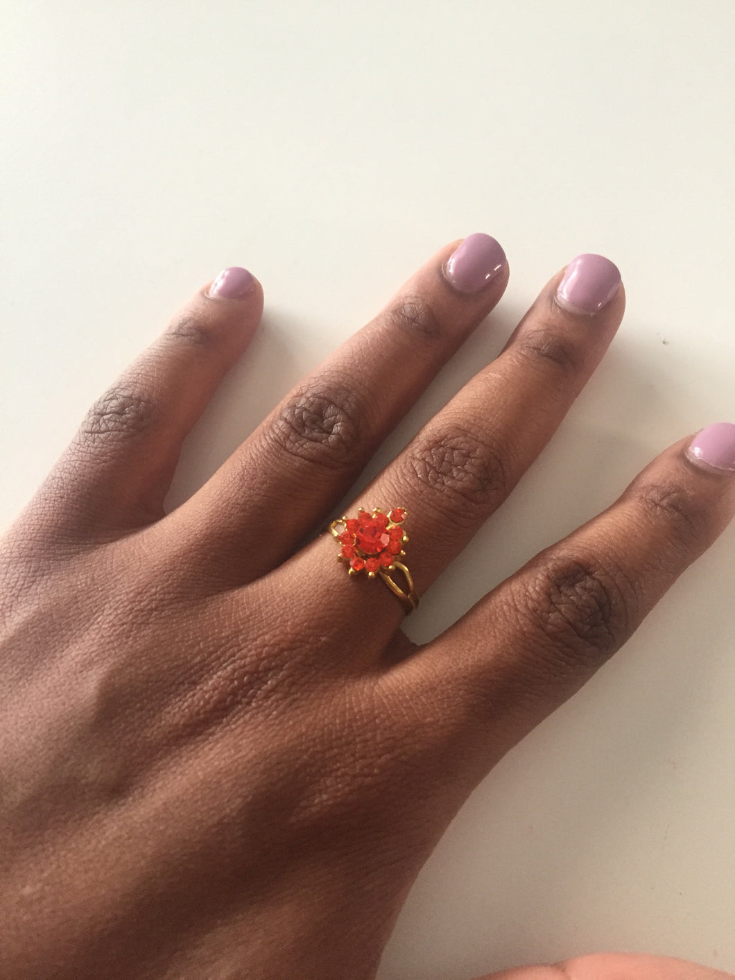 Gold ring with scarlet crystals-Elinye_ithuba
