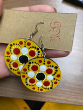 Load image into Gallery viewer, Yellow earrings with white, red and black detail