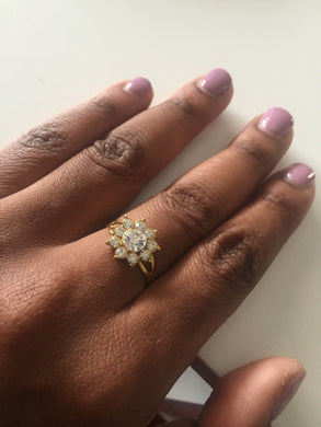 Gold ring with silver crystals-Elinye_ithuba