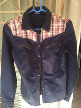 Load image into Gallery viewer, Navy, cotton ladies shirt with checked detail-shirts-Elinye_ithuba