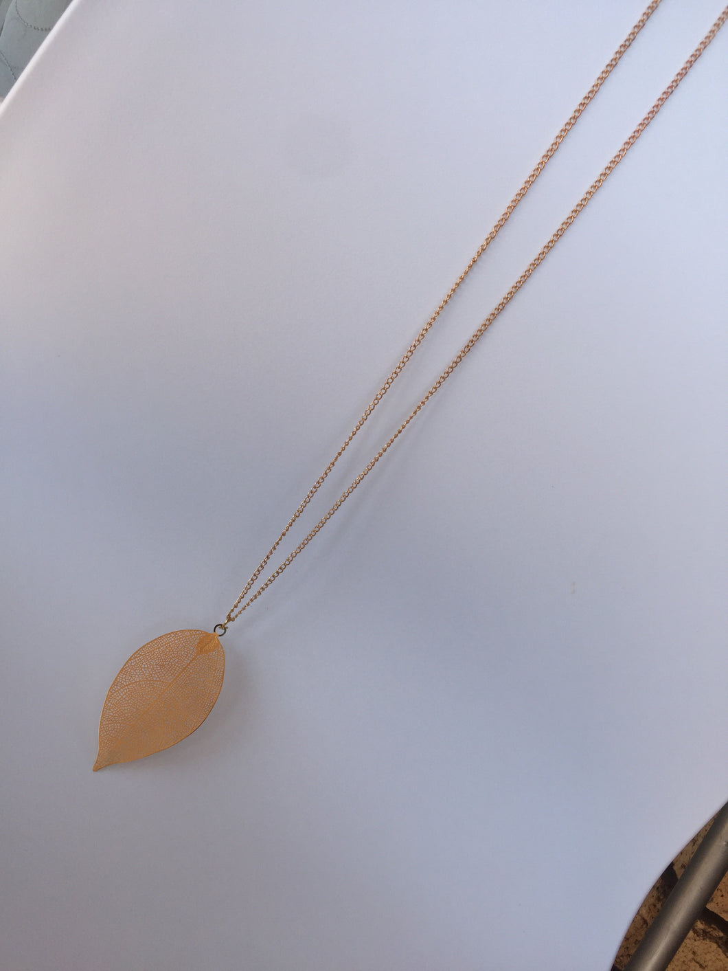 ***Brand New*** Gold longer length leaf neck piece-necklaces-Elinye_ithuba