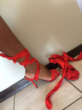 Load image into Gallery viewer, Red lace up heels with diamante detail on straps-heels-Elinye_ithuba