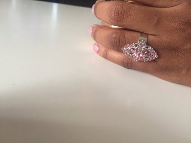 Silver ring with pink crystals-Elinye_ithuba