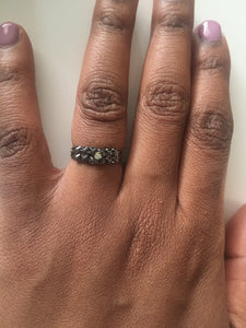 Black ring with a silver crystal-Elinye_ithuba