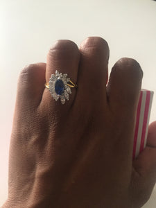 Gold ring with silver and blue crystals-Elinye_ithuba