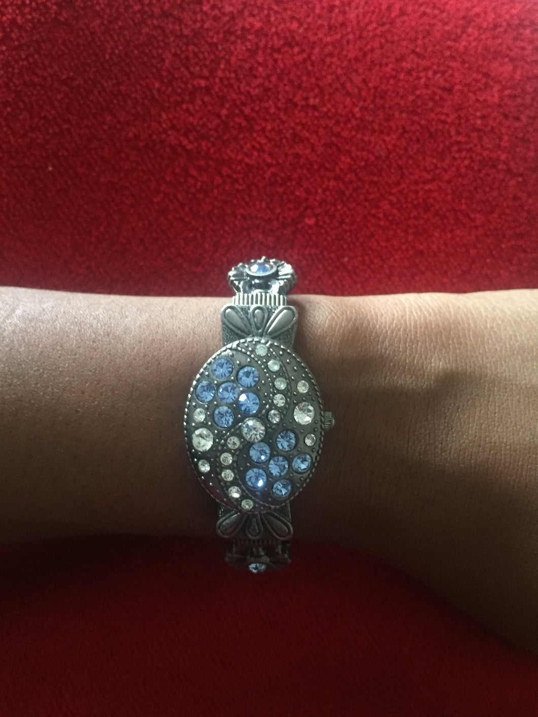 Blue and Silver crystal bracelet watch with cover-Elinye_ithuba