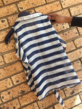 Load image into Gallery viewer, Navy & white ladies sleeveless shirt with horizontal stripes-shirts-Elinye_ithuba