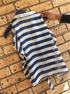 Navy & white ladies sleeveless shirt with horizontal stripes-shirts-Elinye_ithuba