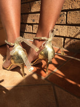 Load image into Gallery viewer, ***Worn once*** Gold heels with ribbon and diamante detail-heels-Elinye_ithuba