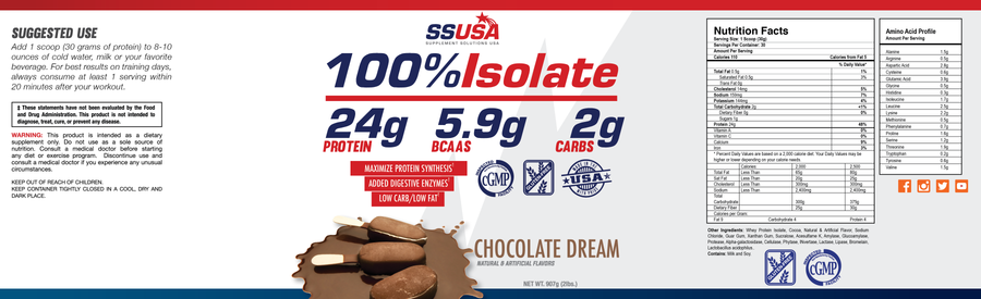 100% Isolate Chocolate Protein 2 lb.
