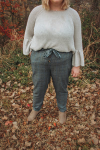 Gray/ Navy High Waisted Plaid Pants- Curvy Babes