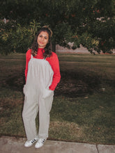Load image into Gallery viewer, Oversized Light Gray & White Striped Jumpsuit- Lovelies
