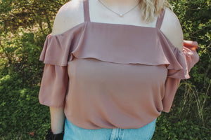 Blush Ruffle Off the Shoulder Top- Curvy Babes