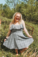 Load image into Gallery viewer, Gray/ Black Plaid Dress- Curvy Babes