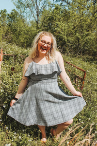 Gray/ Black Plaid Dress- Curvy Babes