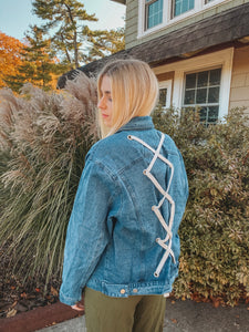 Denim Jacket with Lace Detail in Back- Lovelies