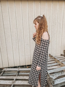 Black/ Ivory Checkered Print Dress- Lovelies
