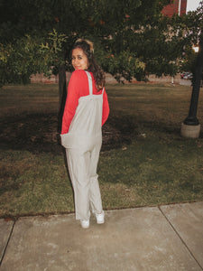Oversized Light Gray & White Striped Jumpsuit- Lovelies