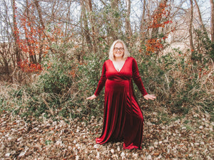 Burgundy Velvet Maxi Dress- Curvy Babes
