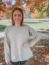 Load image into Gallery viewer, Gray Sweatshirt with Striped Sleeves- Lovelies