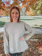 Gray Sweatshirt with Striped Sleeves- Lovelies