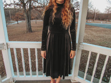 Load image into Gallery viewer, Black Velvet Turtleneck Dress- Lovelies