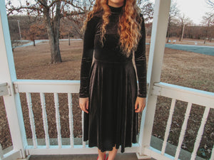 Black Velvet Turtleneck Dress- Lovelies